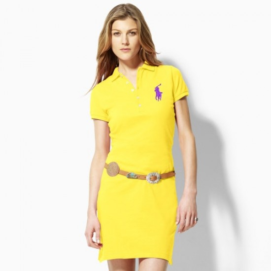 Polo Ralph Lauren Big Pony Polo Dress Yellow For Women