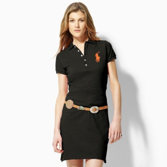 Polo Ralph Lauren Big Pony Polo Dress Black For Women