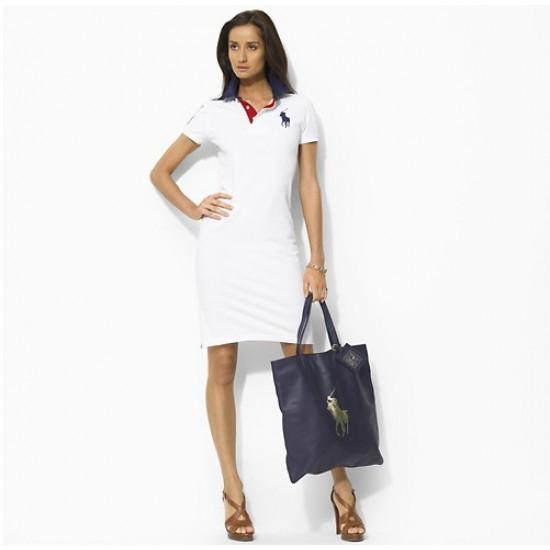 Ralph lauren cotton short sleeve big pony polo slim skirt dress