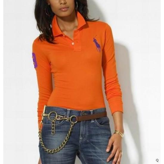 Woemn's Polo Ralph Lauren Long Sleeve 3 Orange