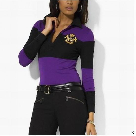 Woemn's Polo Ralph Lauren Long Sleeve Black And Purple