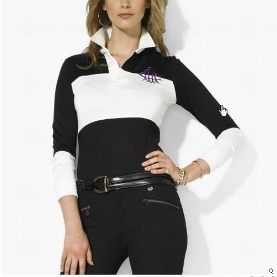 Woemn's Polo Ralph Lauren Long Sleeve Black And White