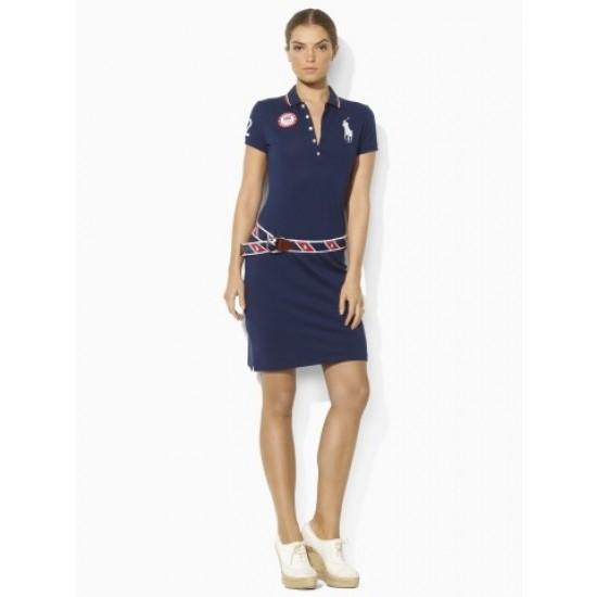 Ralphlauren Team USA Mesh Polo Dress French Navy